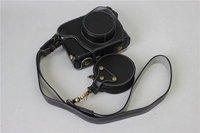 Real Leather Camera Genuine New Case Capa Bag Bolsa Para Fuji Fujifilm X100F Com Abertura de Fundo Da Bateria