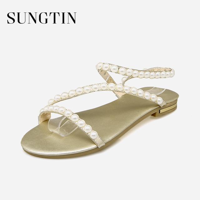 537dbce71 Sungtin Fashion Pearl Flat Sandals Women Summer Beach Shoes Ladies Simple  Comfortable Open Toe Sandals Plus Size 33-43