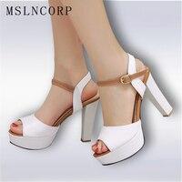 Модные туфли-лодочки с открытым носком в деловом стиле женственные сандалии на очень высоком квадратном каблуке платформа рифленая резино...