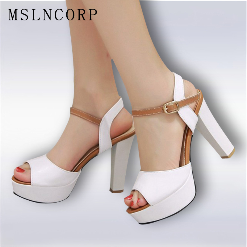 Office & Career Fashion peep toe pumps spikes Rubber sole Square heel sexy super high heel platforms sandals Large size shoes 2018 new womens sexy super high heel peep toes night club shoes striped hollow out sheepskin leather sandals large size zapatos