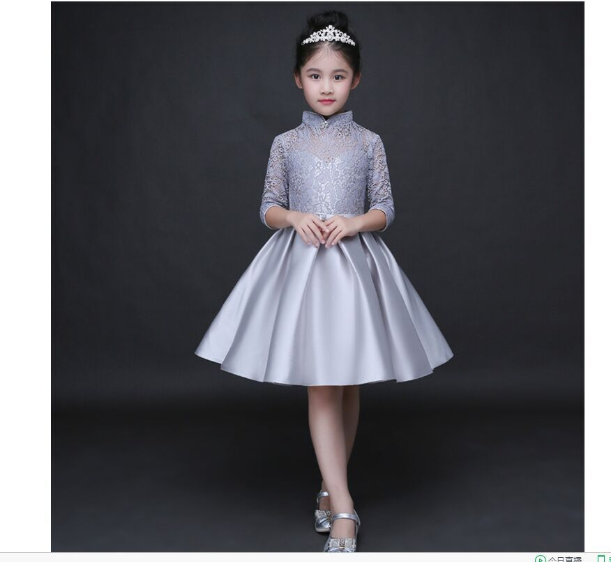 HTB1uguRQFXXXXaCaXXXq6xXFXXXU - Baby Girl Kid Evening Party Dresses For Girl Wedding Princess Clothing 2017 New Solid Color Bow Moderator Dress Children Clothes