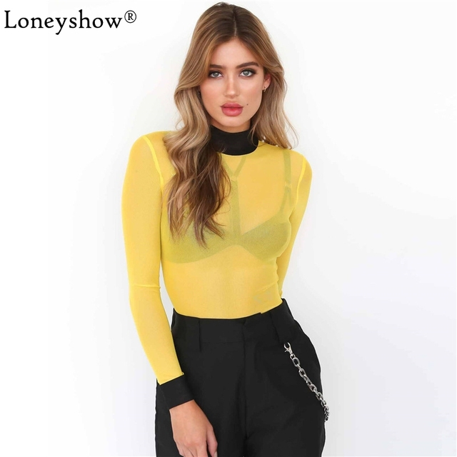 19e7749b99 Newest Early Autumn Women Sexy See-through Yellow Red Mesh Bodysuit Bodycon  Skinny Club Long Sleeve Turtleneck Playsuits Overall
