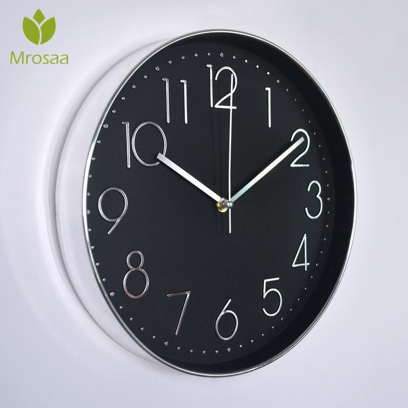 Mrosaa High quality 12 inch Wall Clock Modern Design Digital pointer Quartz Hanging Clock Living Room Decorative Horloge clocks