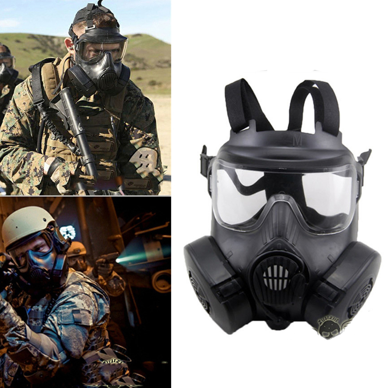 M50 Tactical Gas Mask Dual Fan Anti-fog Face Shield DC15 CS Field Skull Face Paintball Airsoft Army Military Equipment