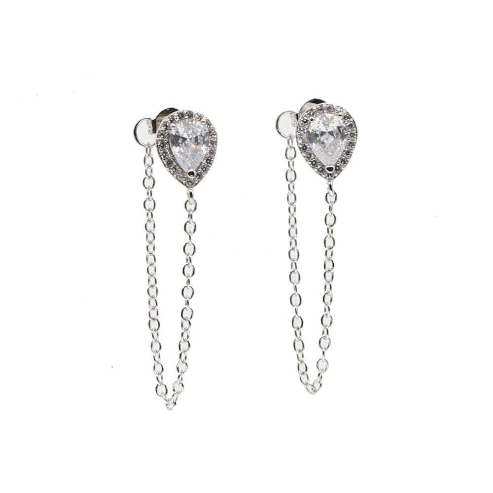 Nowa moda biżuteria akcesoria srebrny kolor gruszka w kształcie łezki w projekt łańcuch tassel kolczyk najlepszy prezent dla dziewczyny kochanka hurtownia
