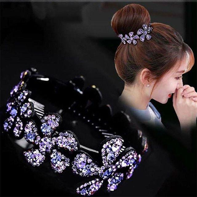 1 Pza Flor de estrás Horquillas para el cabello para mujer flores elegantes cristal elegante giro redondo Barrette accesorios para el cabello