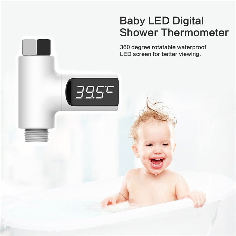 LED Display Home Water Shower Thermometer Flow Self-Generating Electricity Water Temperture Meter Monitor For Baby Care