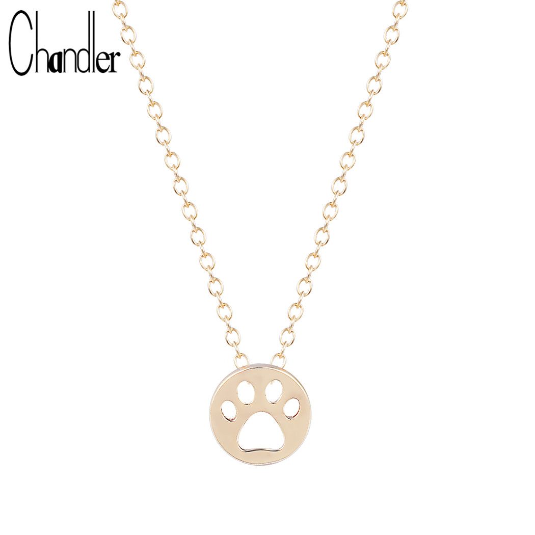 Chandler Gold Silver Plating Cute Cat Dog Paw Footprint Chain Necklace Pendant For Women Gifts Animal