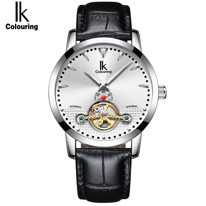 IK Self-Wind Automatic Mechanical Men Watches Leather Stainless Steel Strap Luxury Brand Men's Mechanical Watch ks golden stainless steel case automatic mechanical movement analog leather strap men self winding casual watches ks172