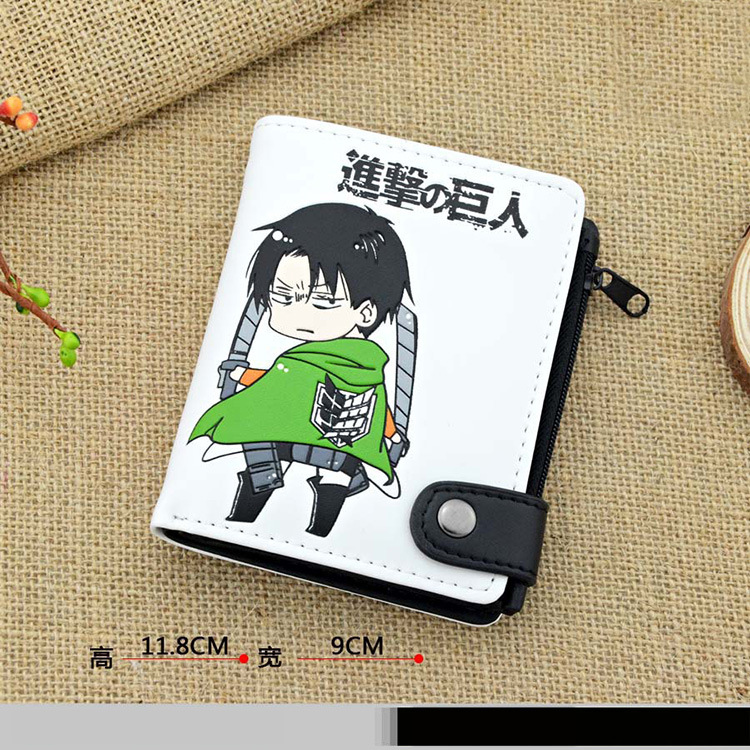 Anime Attack on Titan Cosplay Q version of the cartoon quality PU short wallet students children birthday gift