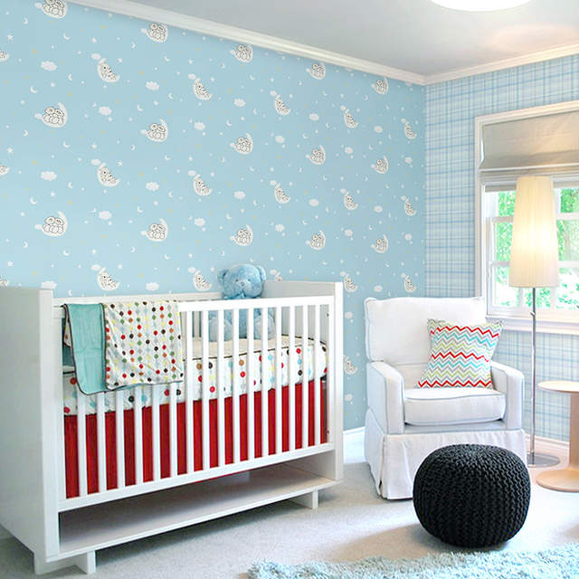 . US  30 0 50  OFF Children s Room Wallpaper Girl Pink Cartoon Cute  Children s Bedroom Nonwoven Wallpaper Boy Sleeping Bear in Wallpapers from  Home