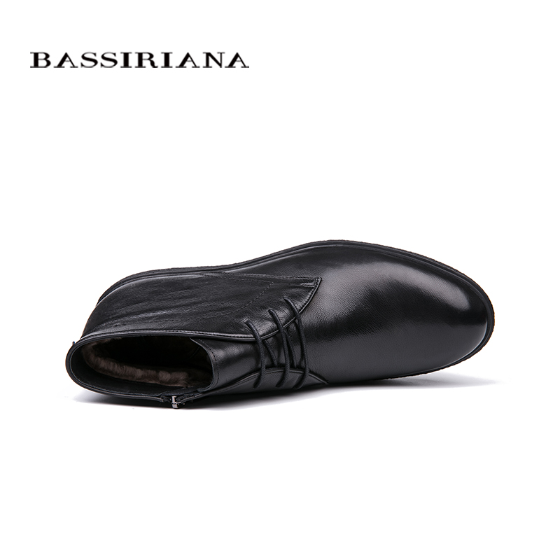 Image 3 - BASSIRIANA brand 2018 quality genuine leather winter shoes men's warm shoes men's round toe Size 39 45 Free Shipping-in Formal Shoes from Shoes