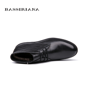 Image 3 - BASSIRIANA brand 2018 quality genuine leather winter shoes mens warm shoes mens round toe Size 39 45 Free Shipping