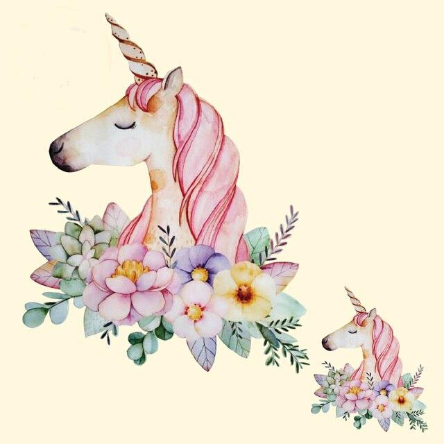 Пирография 18.3*23 см теплообмена цветок Единорог гладить на Нашивки для одежды DIY Футболка Костюмы деко