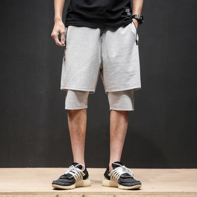 2018 Summer Pure Mens Youth Japanese Hip-Hop Style Fake Loose Large Size Personality Harem Fashion Casual Workout
