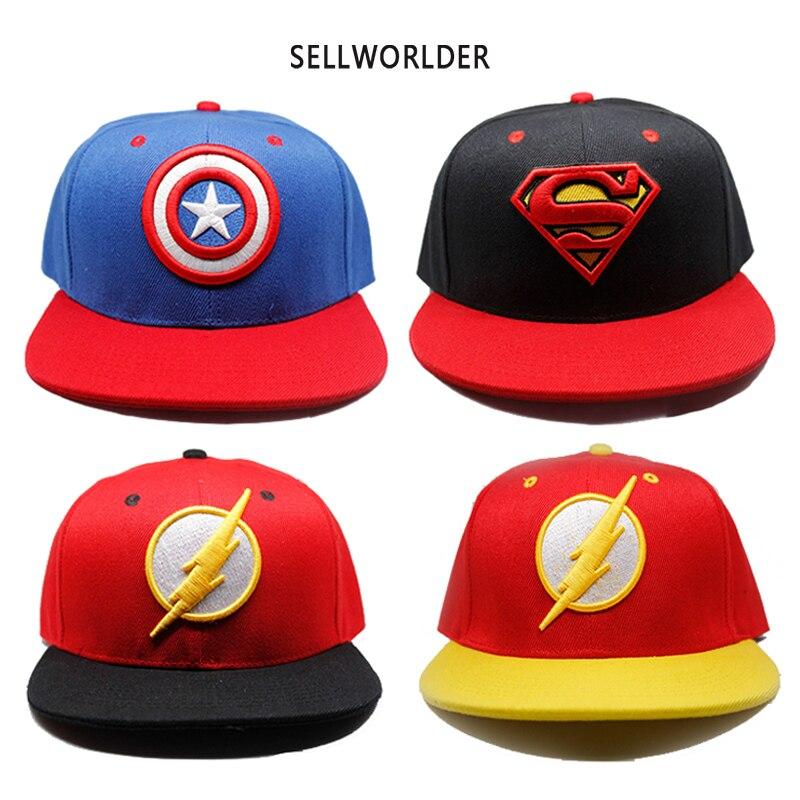 2018 Adults Avengers Captain America Superman Flash Cartoon Character Printed Casual Hip-hop   Baseball     Caps