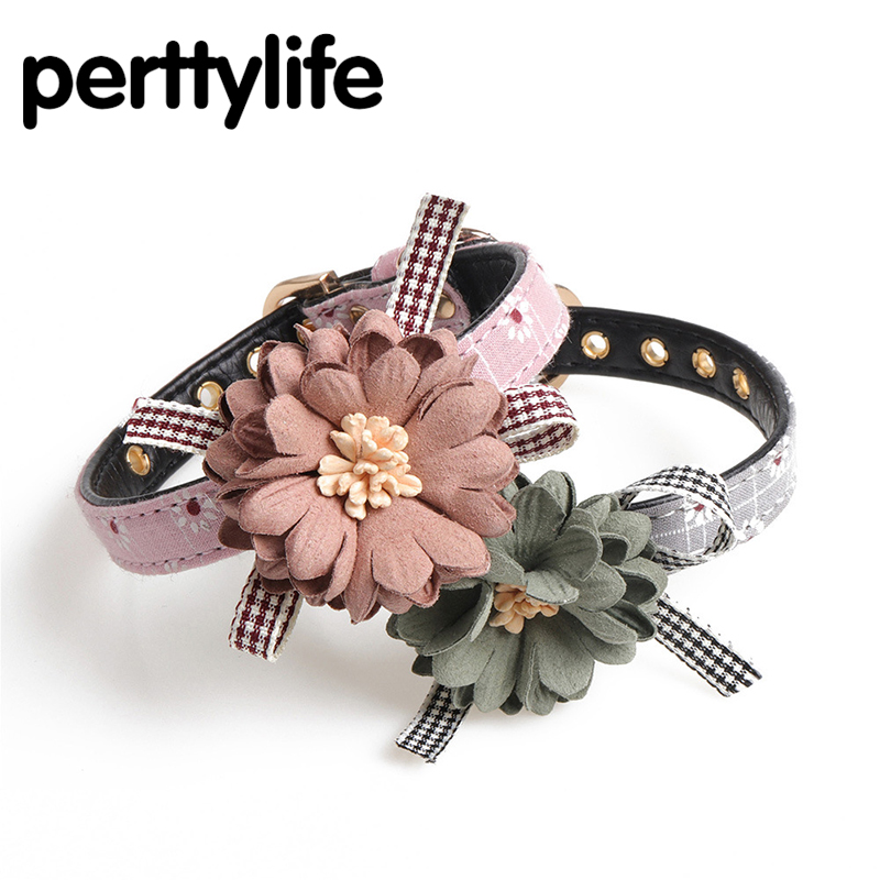 PERTTYLIFE Flowers 2Colors Pu Leather Pet Dog Collar For Puppy Chihuahua Small Dog Neck Strap Adjustable Size S Big Sale CLR59