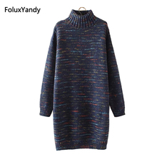 Turtleneck Sweaters Women New Autumn Style Plus Size 3 4 XL Casual Knitting Long KKFY334