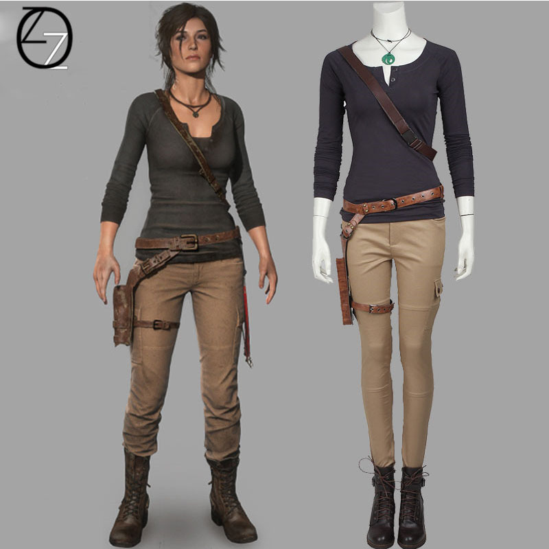 Lara Croft Cosplay Costume Game Tomb Raider Cosplay Lara Croft costumes Adult Women Carnival Halloween Costume Made
