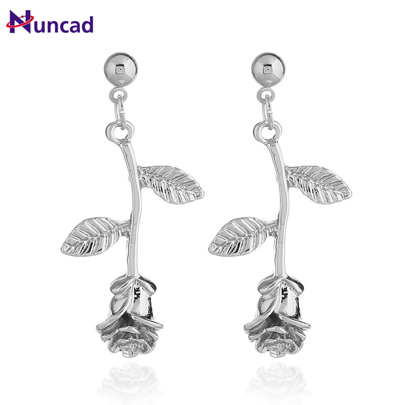 The price of Trendy fashiopn Leaf shape earring Silver Metal Girl Auricle Earrings For Women Jewelry Gift 2018