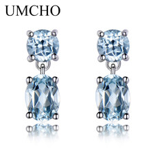 hot deal buy umcho natural sky blue topaz gemstone aquamarine drop earrings 925 sterling silver earrings jewelry fine earrings for women gift