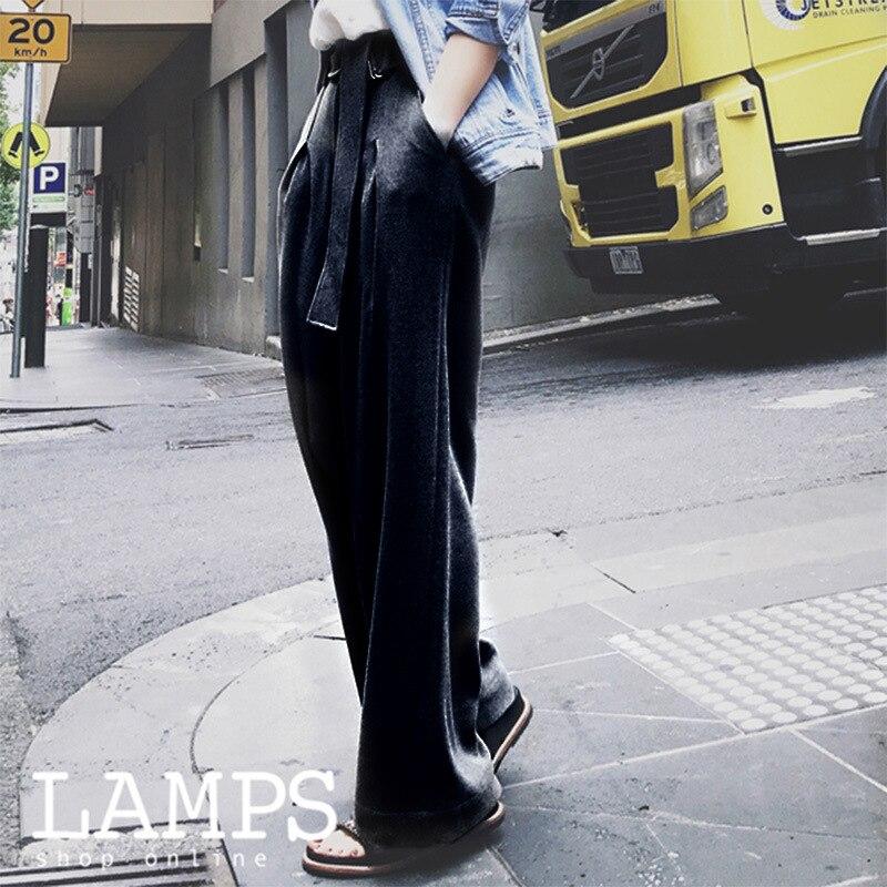 2019 mode pantalon nouveau large lege décontracté été pantalon droit femmes lâche pantalon femme
