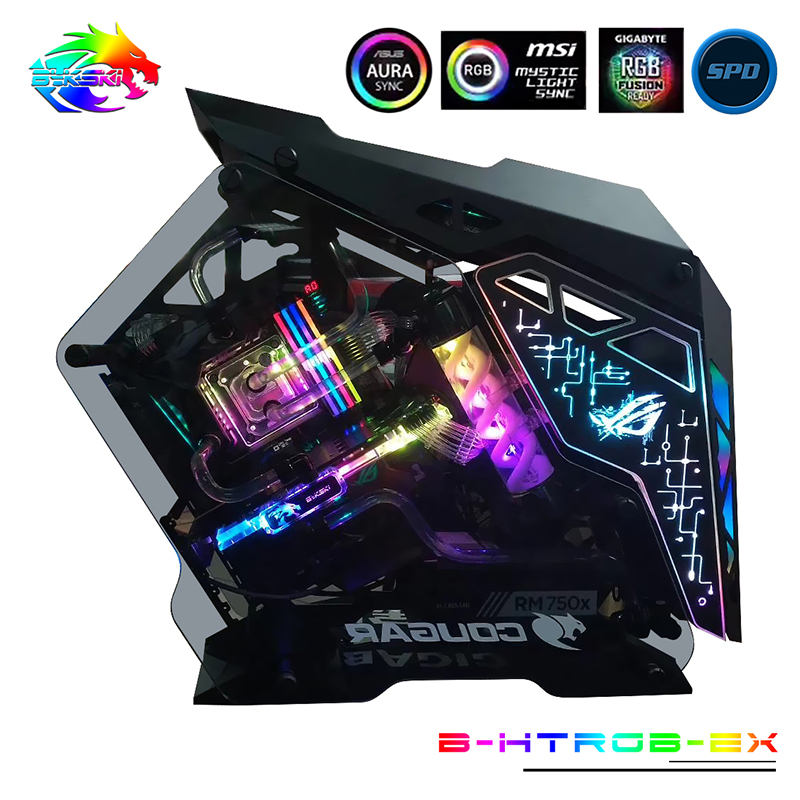 US $177 65 5% OFF|Bykski Water Cooling Kit CPU + GPU Hard Tubing Set  Radiator T Virus Reservoir DIY Symphony RBW Lighting B HTRGB EX-in Fans &  Cooling