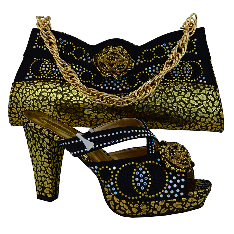 2016 Nigeria dress matching shoes and bags italy high quality african shoe and bag set for party in women,black gold colorMVB1-1 mf012 african shoes and bag set for nigeria lady black color italian style fashion italy shoe and bag to matching party