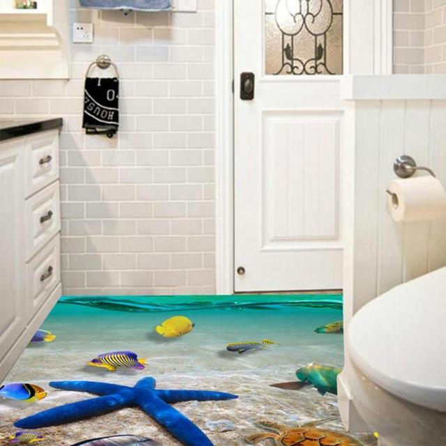 60*90cm Cute 3D Dolphin Floor Stickers Waterproof Bathroom Starfish wall stickers floor sticker tiles For Kids Room Gift 3