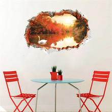 Home Decorations 3D Wall Sticker Red Leaf Goose Autumn PVC Decals For Living Room Bedroom Floor Decor Wallpaper 90*60cm