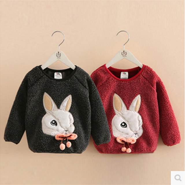 Baby girls clothes kids rabbit plush sweatshirt 2016 winter children's clothing child thickening outerwears