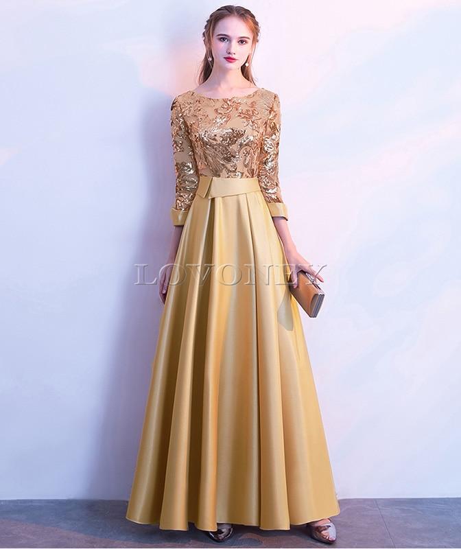 DEERVEADO ТРАПЕЦИЕВИДНОЕ Золотое вечернее платье с блестками, длинное вечернее платье для выпускного вечера, вечернее платье, вечернее платье, женское элегантное платье M254 - Цвет: Золотой