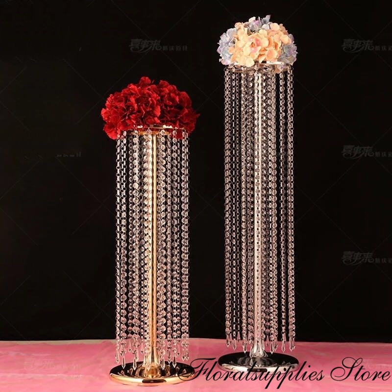 10PCS <font><b>90</b></font> cm tall crystal flower stand wedding decoration table centerpiece event party walkway pathway decor image