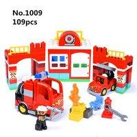 Big Size Diy Building Blocks City Fire Station Firemen Truck Bricks Compatible with Duplo Toys for Children Kids Birthday Gift
