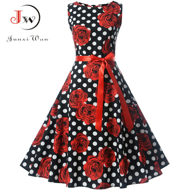 Plus Size Vrouwen Vintage Jurk Gewaad Vestidos Hepburn 50 s 60 s Polka Dot Party Jurken Casual Elegant Rockabilly Pin up Zonnejurk