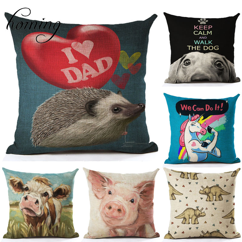 Cute Animal Cushion Cover Pattern Seat Throw Pillow Covers Decorative Cushion Cover Plain Housse De Coussin