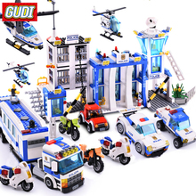 GUDI City Police Series Building Blocks Compatible City Helicopter Figures Block Assembled Toys Educational Children Toys цена