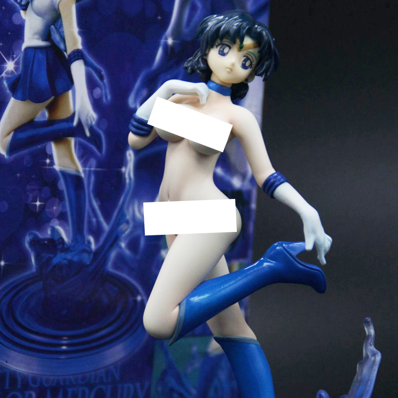 20cm Figuarts Zero Sailor Moon Sailor Mercury Painted Resin PVC Magic change Sexy figure Adult Naked anime GK Model doll toy