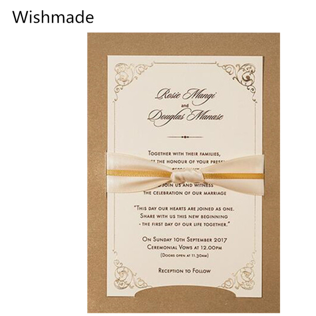 Wishmade Brand 2017 Newest Laser Cutting Marriage Invitation Card