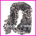 Free Shipping 2013 New Fashion Leopard Animal Print Women's Scarf Chiffon Long Shawl Scarf