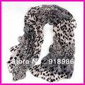 Frete Grátis 2013 Nova Moda Animal da Cópia do Leopardo Cachecol Chiffon Longo Xale Lenço das Mulheres