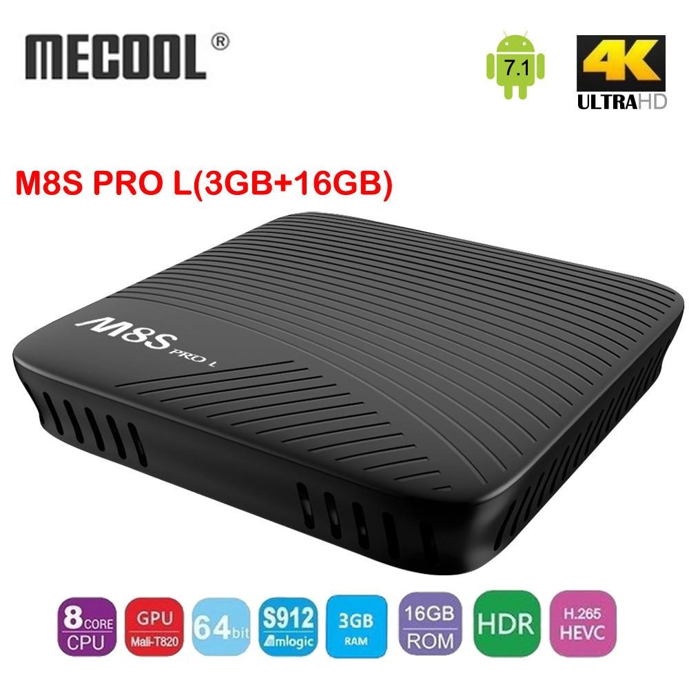 Mecool M8S Pro L Android 7.1 Amlogic S912 64 bit Quad-core Smart TV Box 3GB DDR3 16GB eMMC FLASH 2.4G&5G WIFI Set Top Box mecool bb2 pro amlogic s912 3gb ddr4 16gb emmc tv box rii i8 black
