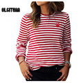 2016 fashion Womens Tops O-Neck T-Shirt Long Sleeve red Striped T Shirts  Sweatshirts  girl
