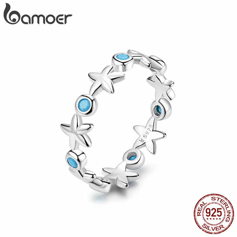 Mid Year Sales Starfish Stackable Finger Rings Solid Sterling Silver 925 Ocean Blue Ring for Women Fine Jewelry Gifts SCR527
