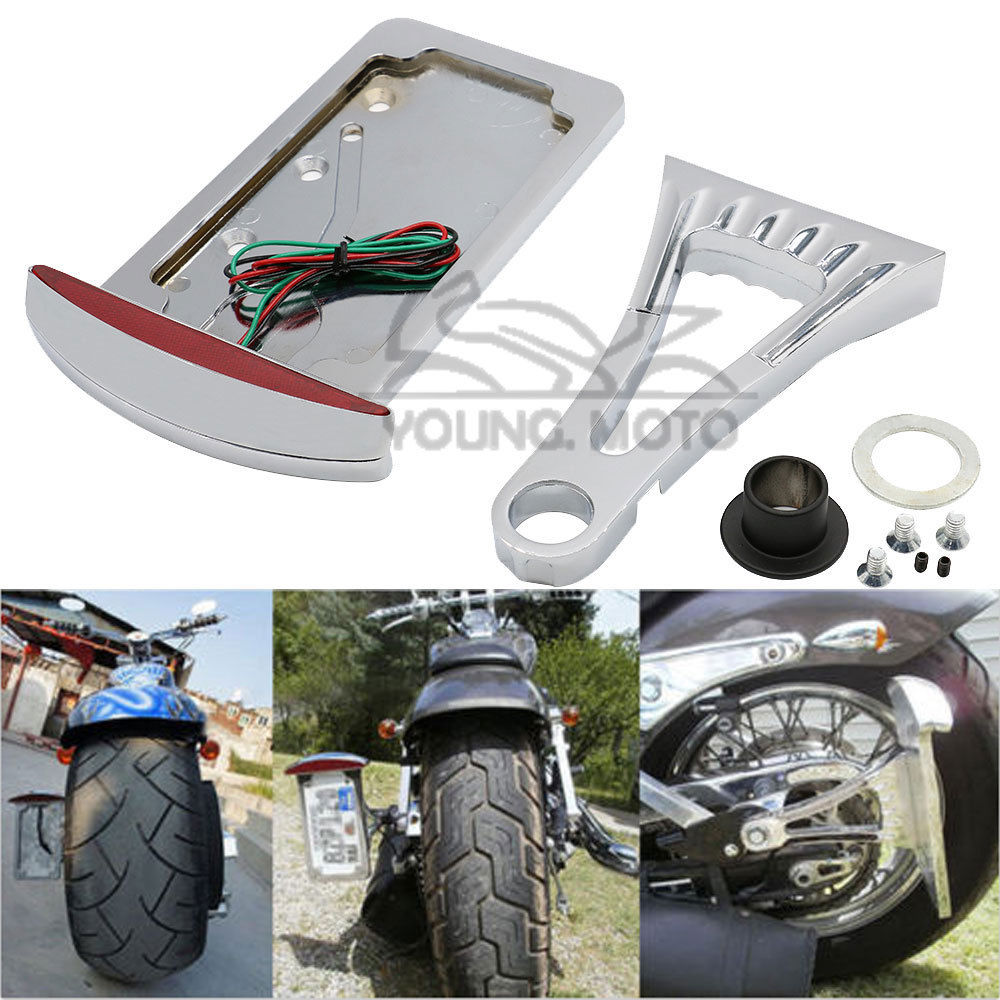 LED Curved Mount License Plate Bracket Stop Tail Light Fit for Harley Sporster