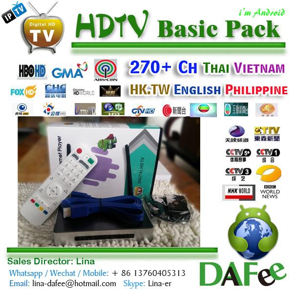 US $142 0 |Quad Core HDTV Android IPTV Box TV Receiver  Chinese/Philippine/Thai/Vietnam Popular 279 Channels DHL Free -in Set-top  Boxes from Consumer