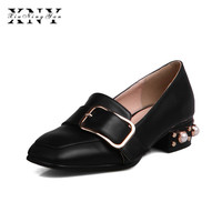 XIUNINGYAN Women Flats Low Heel Square Toe Buckle Pearl Spring Dress Party Shoes Plus Size 32 48 Black White Loafers For Lady
