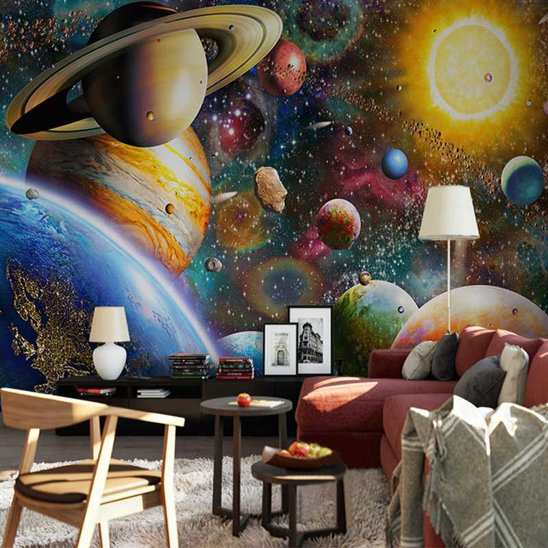 תמונה טפט 3D שטח יקום ילדים קיר חדר שינה קיר ניירות עבור קירות 3 D עמיד למים ידידותי לסביבה קיר בד תפאורה