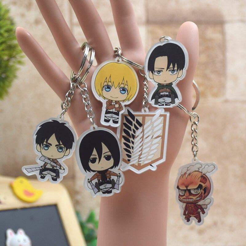 Attack on Titan Keychain Shingeki no Kyojin Key Chain Acrylic Pendant Car Key Accessories Key Ring XS-2 стоимость