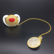Sexy Lip Bling Pacifier Sparkling Rhinestone With Chain Clip